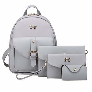 Brezeh Ensemble de 4 sacs pour femme, composé d'un sac à dos style écolier, d'un sac à bandoulière, d'une pochette et d'un porte-cartes Cabas gris 2019