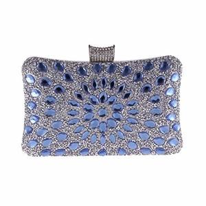 Zhongsufei Sac Pochette Style enveloppe Sac à Main de soirée des Femmes Dames d'embrayage Sac à Main Sac à Main de Mariage Sac à Main (Couleur : Bleu) 2019