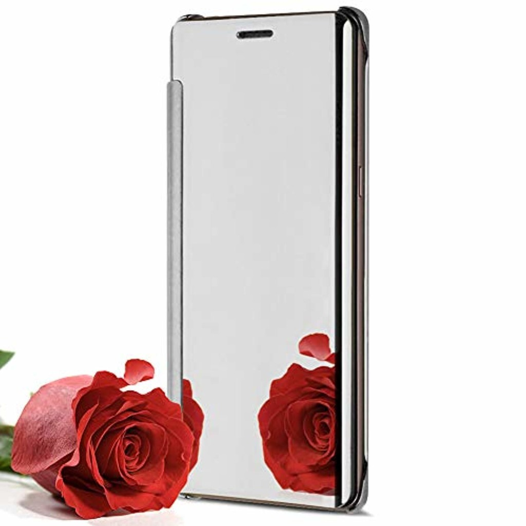Coque iPhone SE avec Rabat,Miroir Coque pour iphone 5s,Ekakashop Mode Silver Bling Shiny Brillant Housse de Protection Clear Smart View Flip Cover pour iPhone SE / 5S / 5 2019