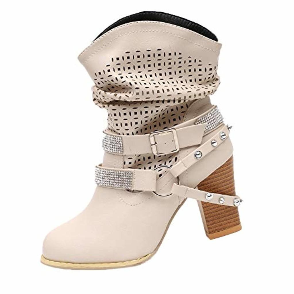 ELECTRI Europe et Amérique Femme Bottine,Sexy Hiver Automne Chaussures Bottes en Strass Mode Femmes Vintage Boots Talon épais Haut 2019