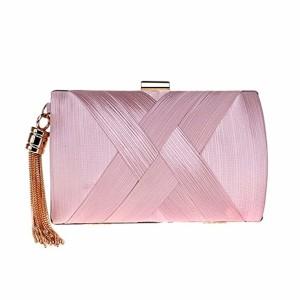 YuFLangel Sac à Main Clutch enveloppe élégant pour Femme Dames Pure Color Clutch Bag Soirée/Mariage / Sac à Main Pochette de soirée avec Longue chaînette (Couleur : Rose) 2019