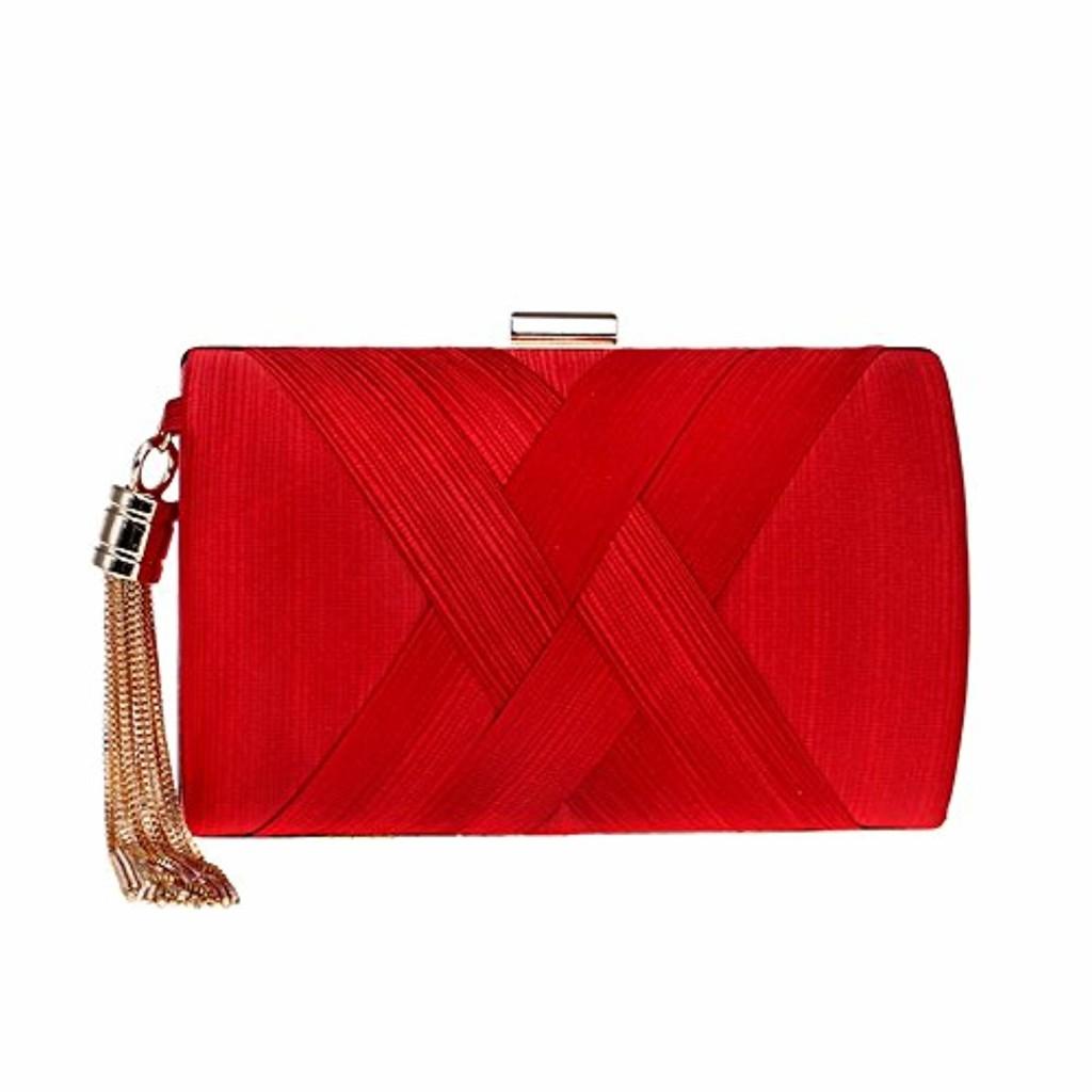 YuFLangel Sac à Main Clutch enveloppe élégant pour Femme Dames Pure Color Clutch Bag Soirée/Mariage / Sac à Main Pochette de soirée avec Longue chaînette (Couleur : Rouge) 2019